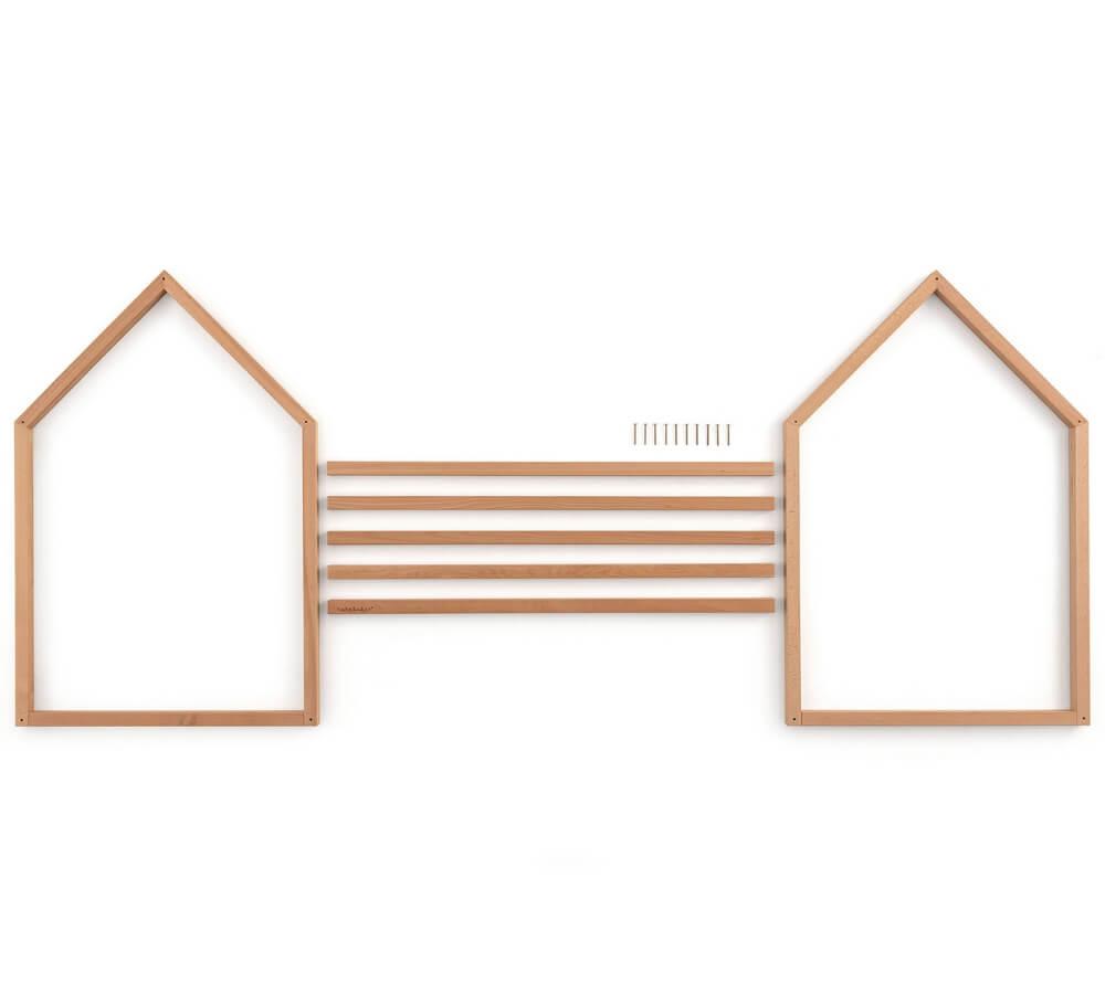 interior design, lettino basso per bambini a casetta, montaggio